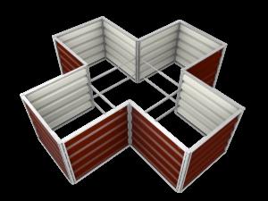 smartbeet® – Kreuz | Metallhochbeet Draufsicht braun